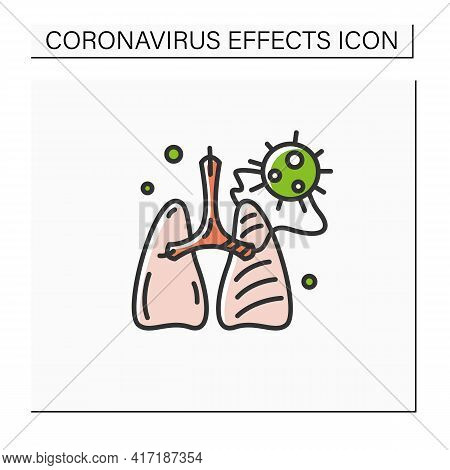 Covid Pneumonia Color Icon. Virus Caused Lungs Blockage. Concept Of Frequent Corona Virus Effects, A