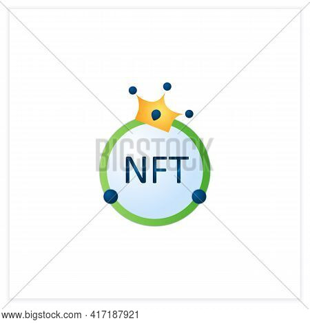 Nft Flat Icon. Non Fungible Token. Unique Digital Assets. Assets Exist In Their Own Cryptosystems. 3