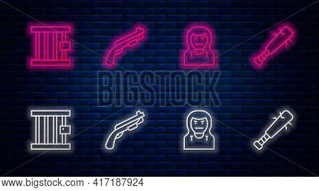 Set Line Police Shotgun, Thief Mask, Prison Window And Baseball Bat With Nails. Glowing Neon Icon On