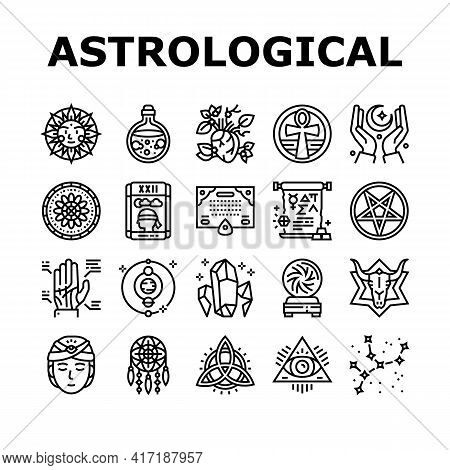 Astrological Objects Collection Icons Set Vector. Crystals And Ball, Love Potion And Tarot Cards, Su