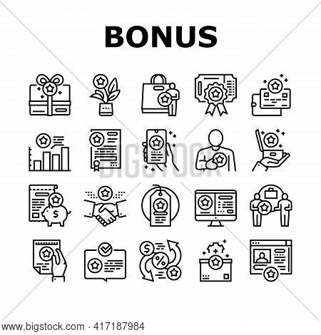 Bonus Present Of Sales Collection Icons Set Vector. Bonus Gift Box For Customer And Card, Contract A