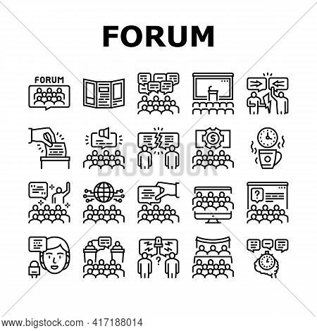 Forum People Meeting Collection Icons Set Vector. International And Business Online Forum, Public De