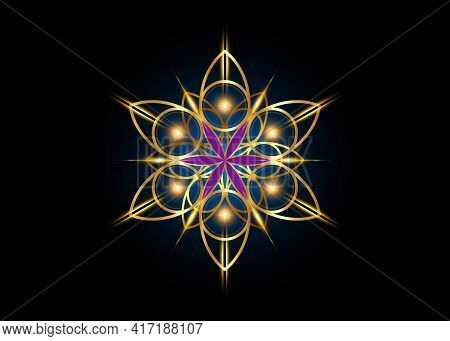 Flower Of Life Symbol Sacred Geometry. Shiny Gold Luxury Logo Icon Round Geometric Mystic Purple Man