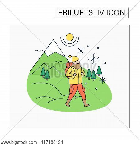 Friluftsliv Color Icon. Hiking. Snowy Weather. Man Walking. Mountain Winter Landscape.nordic Outdoor