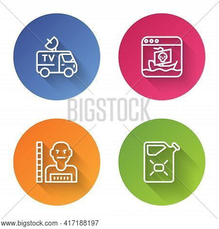 Set Line Tv News Car, Internet Piracy, Suspect Criminal And Canister Fuel. Color Circle Button. Vect