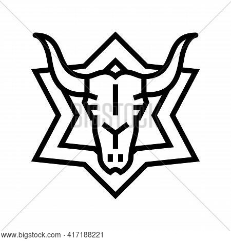 Skull Astrological Line Icon Vector. Skull Astrological Sign. Isolated Contour Symbol Black Illustra