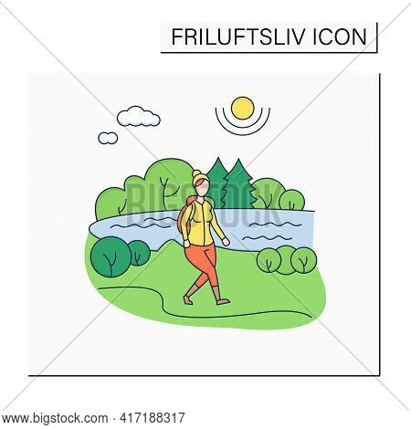 Friluftsliv Color Icon. Hiking. Woman Walking Near River. Nice Weather. Nature Landscape.camping. No