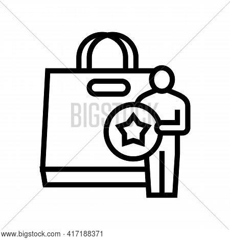 Buyer Getting Bonus Bag Line Icon Vector. Buyer Getting Bonus Bag Sign. Isolated Contour Symbol Blac
