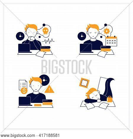 Procrastination Flat Icons Set. Worrier, Defier Procrastinator, Mess, Late Payments. Overwhelmed Con