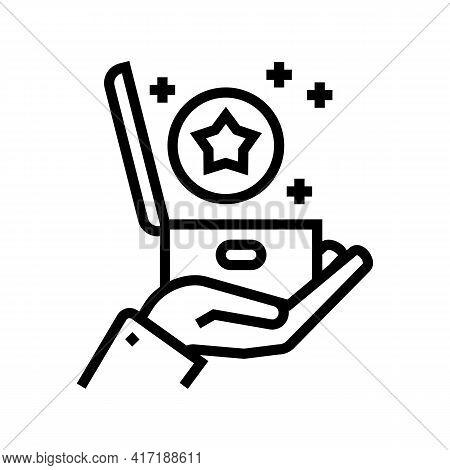 Present Bonus Line Icon Vector. Present Bonus Sign. Isolated Contour Symbol Black Illustration
