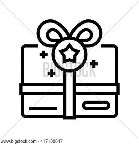 Present Box Bonus Line Icon Vector. Present Box Bonus Sign. Isolated Contour Symbol Black Illustrati