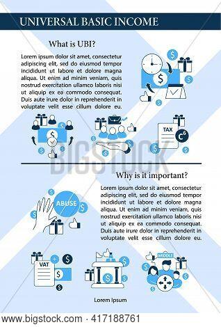 Universal Basic Income Brochure. Tax Declaration, Economic Growth Template. Flyer, Magazine, Poster,