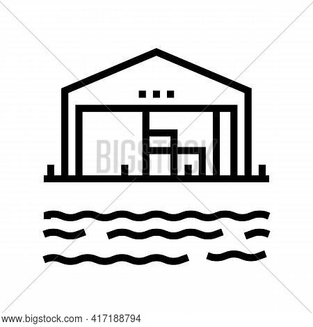 Storehouse Port Line Icon Vector. Storehouse Port Sign. Isolated Contour Symbol Black Illustration