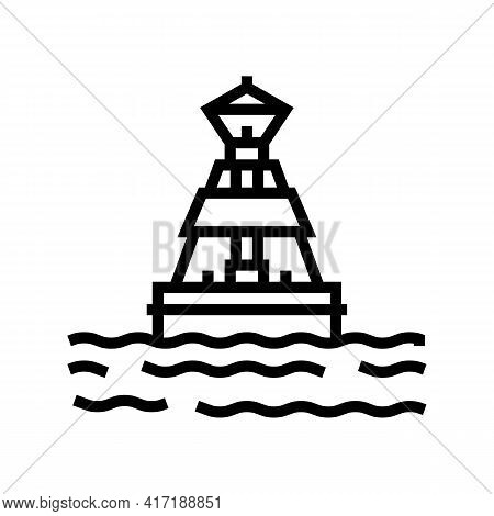 Buoy Port Line Icon Vector. Buoy Port Sign. Isolated Contour Symbol Black Illustration
