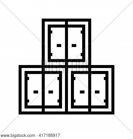 Container Stack Port Line Icon Vector. Container Stack Port Sign. Isolated Contour Symbol Black Illu