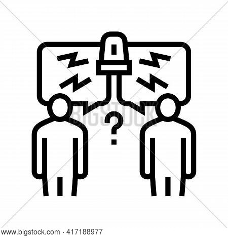 Conflict On Forum Line Icon Vector. Conflict On Forum Sign. Isolated Contour Symbol Black Illustrati