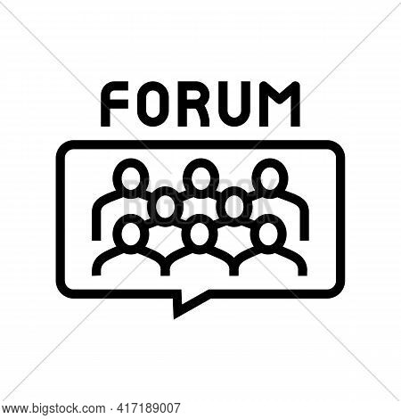 Meeting On Forum Line Icon Vector. Meeting On Forum Sign. Isolated Contour Symbol Black Illustration