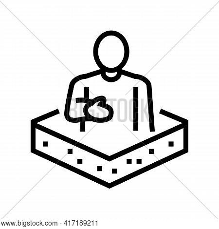 Owner Land Line Icon Vector. Owner Land Sign. Isolated Contour Symbol Black Illustration