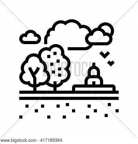 Recreational Land Line Icon Vector. Recreational Land Sign. Isolated Contour Symbol Black Illustrati