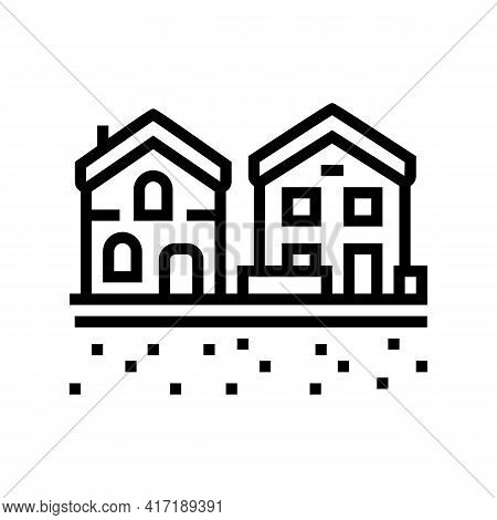 Residential Estate Zone Land Line Icon Vector. Residential Estate Zone Land Sign. Isolated Contour S