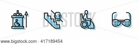 Set Line Woman In Wheelchair, Elevator For Disabled, Disabled Elevator And Blind Glasses Icon. Vecto