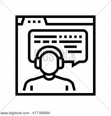 Online Education Teacher Line Icon Vector. Online Education Teacher Sign. Isolated Contour Symbol Bl