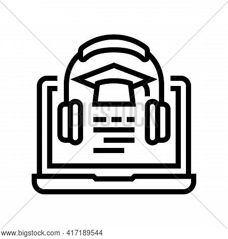 Listening Educational Lesson Of College Line Icon Vector. Listening Educational Lesson Of College Si