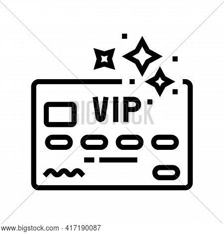 Vip Premium Line Card Line Icon Vector. Vip Premium Line Card Sign. Isolated Contour Symbol Black Il