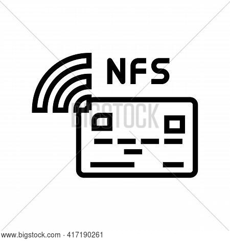 Contactless Nfc System Card Line Icon Vector. Contactless Nfc System Card Sign. Isolated Contour Sym