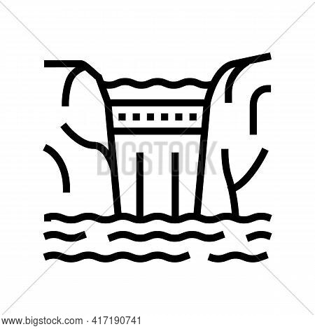 Dam Water Line Icon Vector. Dam Water Sign. Isolated Contour Symbol Black Illustration