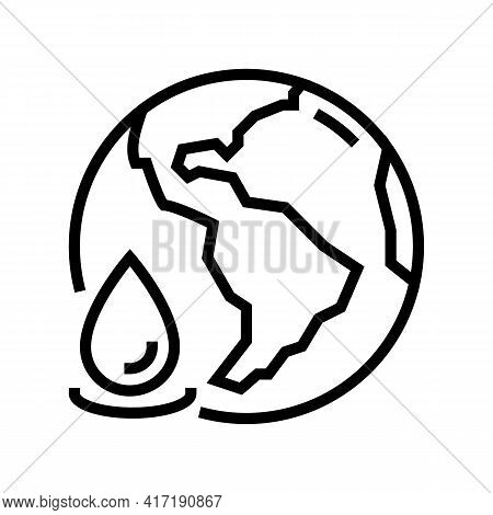 Ocean Water Line Icon Vector. Ocean Water Sign. Isolated Contour Symbol Black Illustration