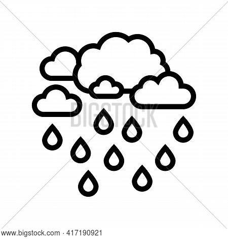 Precipitation Water Line Icon Vector. Precipitation Water Sign. Isolated Contour Symbol Black Illust