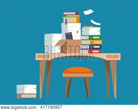 Cluttered Workplace On A Blue Background. A Desk With A Chair, A Computer Littered With Documents An