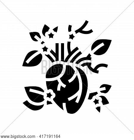 Blooming Heart Glyph Icon Vector. Blooming Heart Sign. Isolated Contour Symbol Black Illustration