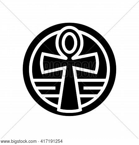 Cross Ankh Glyph Icon Vector. Cross Ankh Sign. Isolated Contour Symbol Black Illustration