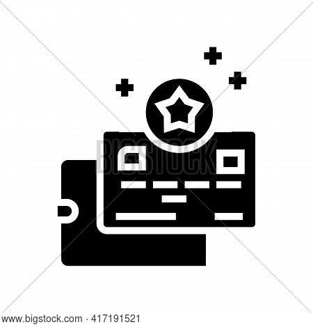 Card Bonus In Wallet Glyph Icon Vector. Card Bonus In Wallet Sign. Isolated Contour Symbol Black Ill