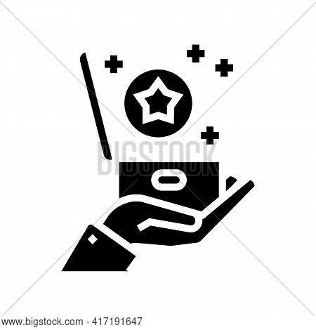 Present Bonus Glyph Icon Vector. Present Bonus Sign. Isolated Contour Symbol Black Illustration
