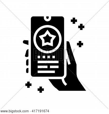 Phone Application Bonus Glyph Icon Vector. Phone Application Bonus Sign. Isolated Contour Symbol Bla