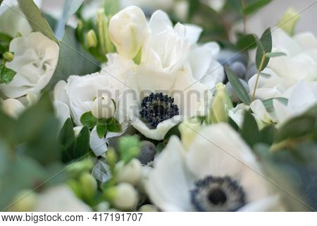 Clouse Up Bouquet Of White Flowers. White Anemones.