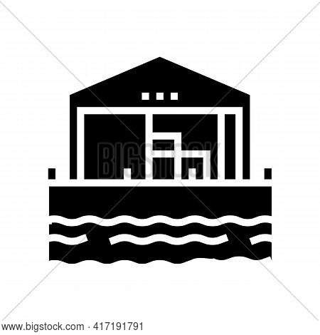 Pier Of Port Glyph Icon Vector. Pier Of Port Sign. Isolated Contour Symbol Black Illustration