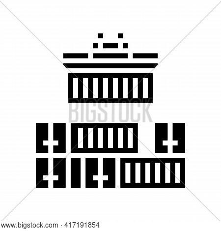 Ship Entering In Port Glyph Icon Vector. Ship Entering In Port Sign. Isolated Contour Symbol Black I