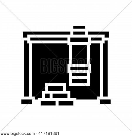 Containers Loader Port Glyph Icon Vector. Containers Loader Port Sign. Isolated Contour Symbol Black