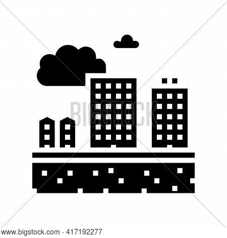 Residential Apartment Zone Land Glyph Icon Vector. Residential Apartment Zone Land Sign. Isolated Co