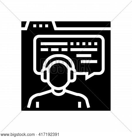 Online Education Teacher Glyph Icon Vector. Online Education Teacher Sign. Isolated Contour Symbol B