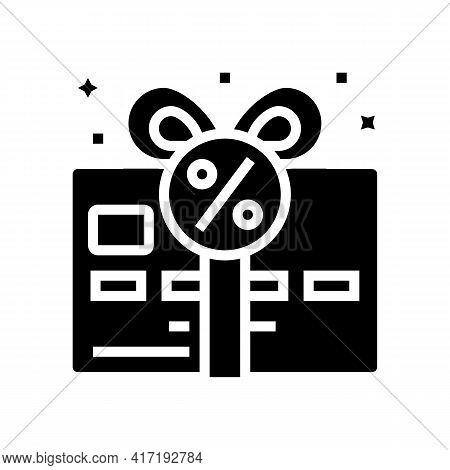 Bonus Card Glyph Icon Vector. Bonus Card Sign. Isolated Contour Symbol Black Illustration