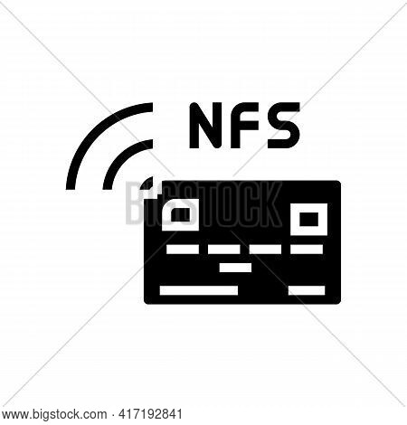 Contactless Nfc System Card Glyph Icon Vector. Contactless Nfc System Card Sign. Isolated Contour Sy