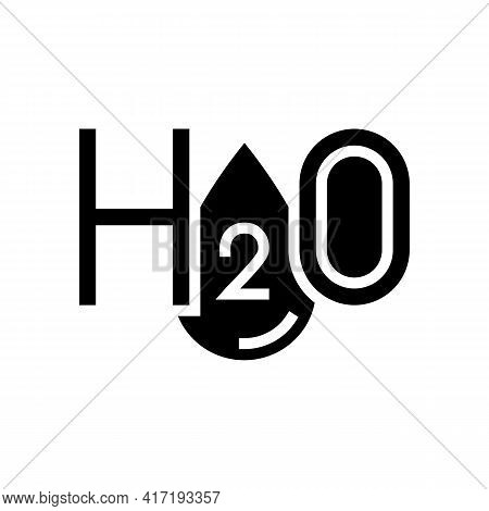 H2o Water Glyph Icon Vector. H2o Water Sign. Isolated Contour Symbol Black Illustration