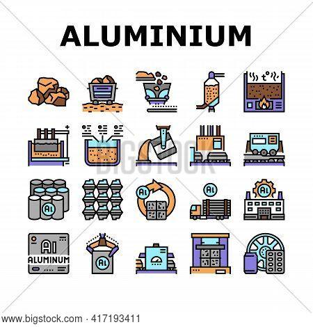 Aluminium Production Collection Icons Set Vector. Processing Of Aluminium Production And Factory, Pr