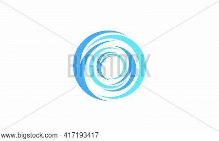 Blue Whirlpool Logo. Creative Icon. Vector Illustration.