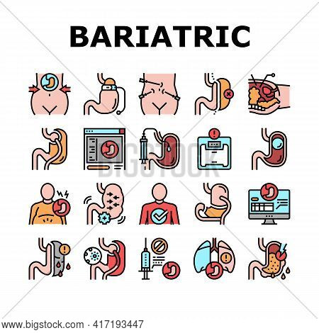 Bariatric Surgery Collection Icons Set Vector. Excess Weight And Risk Of Complications, Severe Bleed